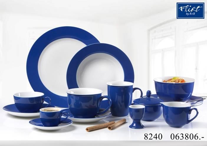 flirt by r b geschirr serie doppio indigo blau geschirr gedeckter tisch sch. Black Bedroom Furniture Sets. Home Design Ideas