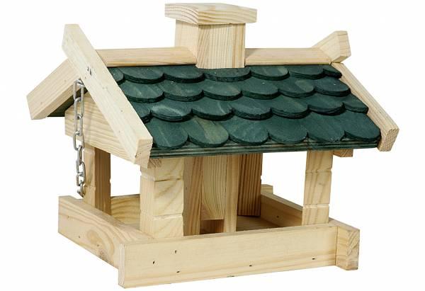 Futterhaus aus Kiefernholz mit Futtersilo 20x18x20cm