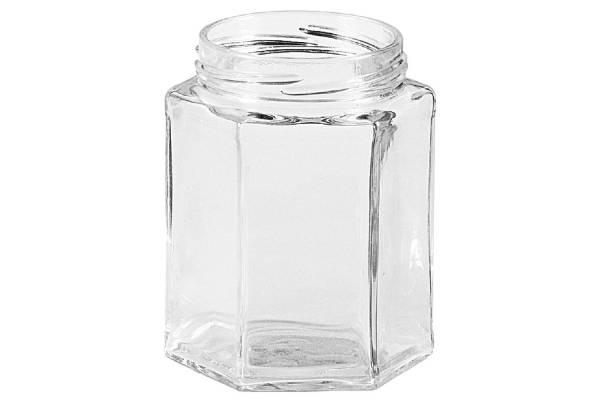 Schraubdeckelglas 6-eckig 287 ml ohne Deckel 63mm TO