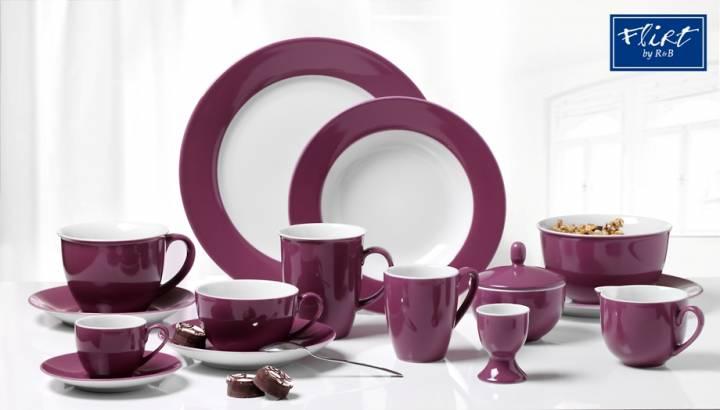 flirt by r b geschirr serie doppio lila geschirr gedeckter tisch sch ihr. Black Bedroom Furniture Sets. Home Design Ideas