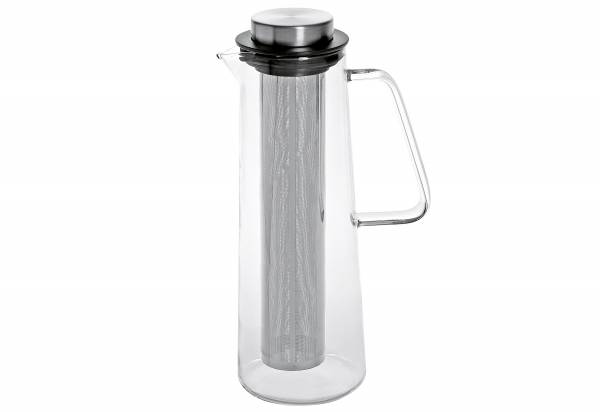 Glaskaraffe 1l mit Edelstahlfilter