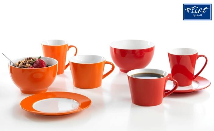 flirt by r&b frühstücksgeschirr vida rot oder orange  ~ Geschirr Rot