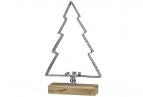 Windlicht Tanne Holz/Alu H78cm
