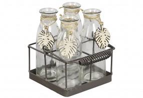 Metallkorb mit 4 Flaschenvasen